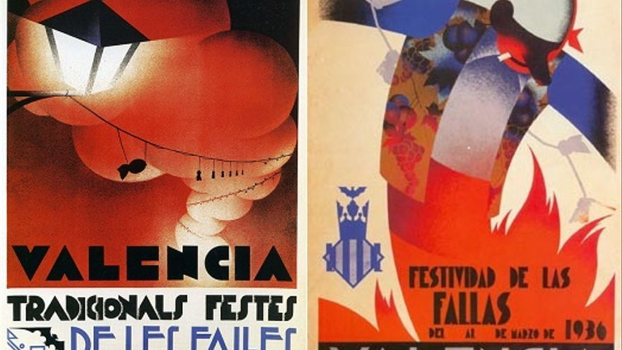 Carteles de fallas de València de 1932 y 1936