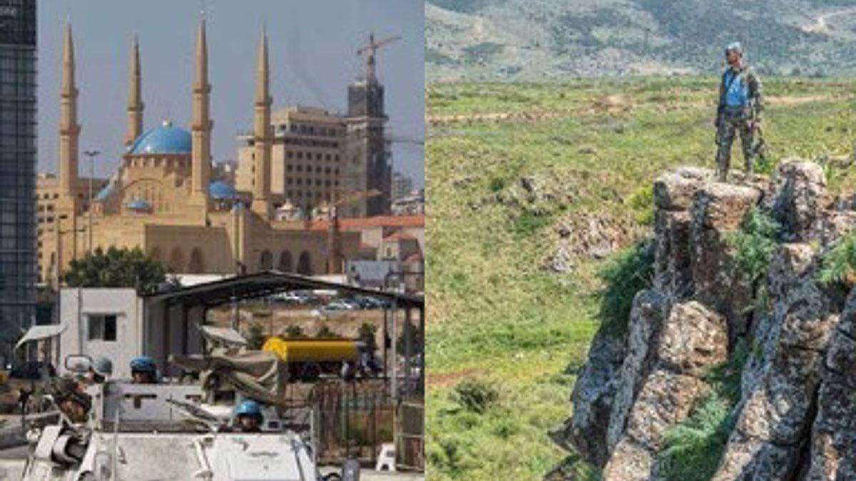Dos imagenes de la misión de los casos azules españoles en Líbano que recoge la exposición.