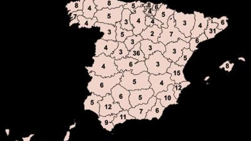 Diputados por provincia en las elecciones generales de 2015. | Fuente: Wikipedia.
