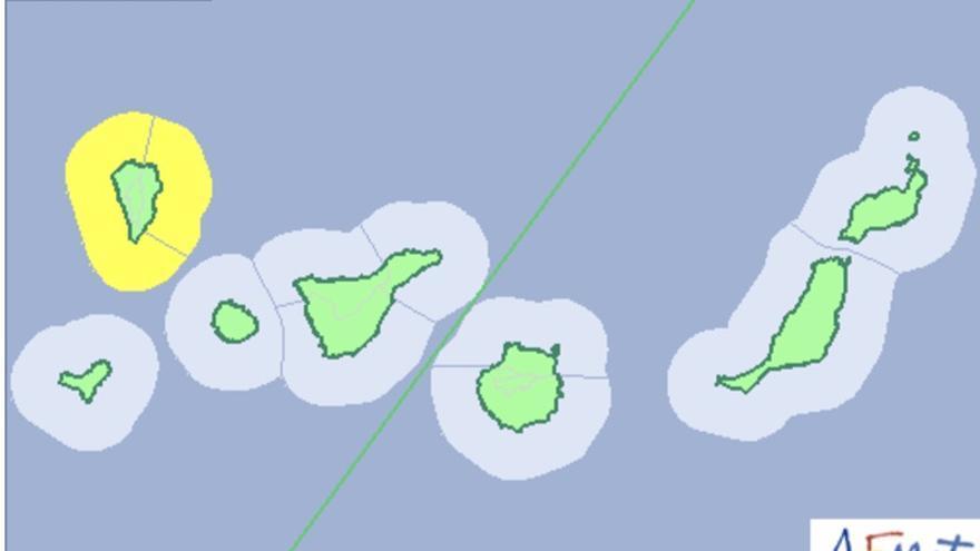 Mapa de la Aemet del aviso de riesgo por fenómeno costero para este miércoles, 8 de noviembre de 2017.