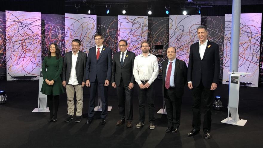 Arrimadas (C's), Domènech (CatenComú), Mundó (ERC), Rull (JxC), Aragonés (CUP), Iceta (PSC) y Albiol (PP), en el debate