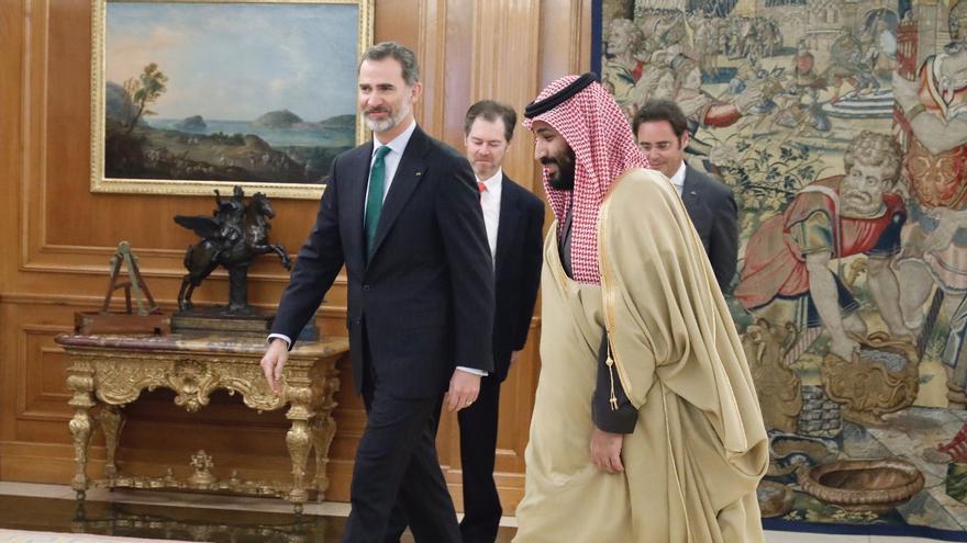 El príncipe saudí, Mohammed Bin Salman, durante su reunión esta mañana en el Palacio de La Zarzuela.