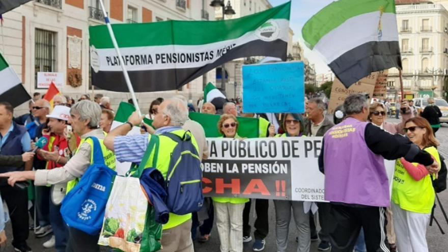 Manifestantes extremeños, en la protesta de Madrid
