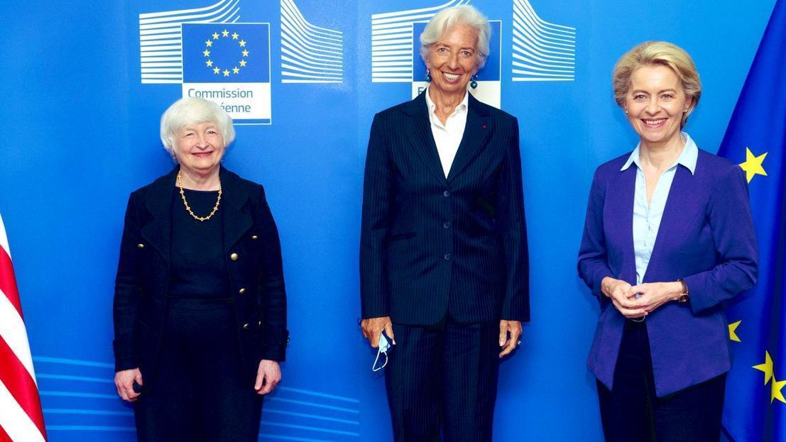 La secretaria del Tesoro estadounidense, Janet Yellen; la presidenta del BCE, Christine Lagarde; y la presidenta de la Comisión Europea, Ursula von der Leyen.