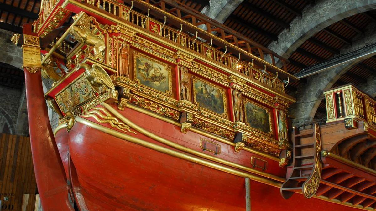 Aleta de estribor en la recreación de la Real que se exhibe en el Museo Marítimo de Barcelona.