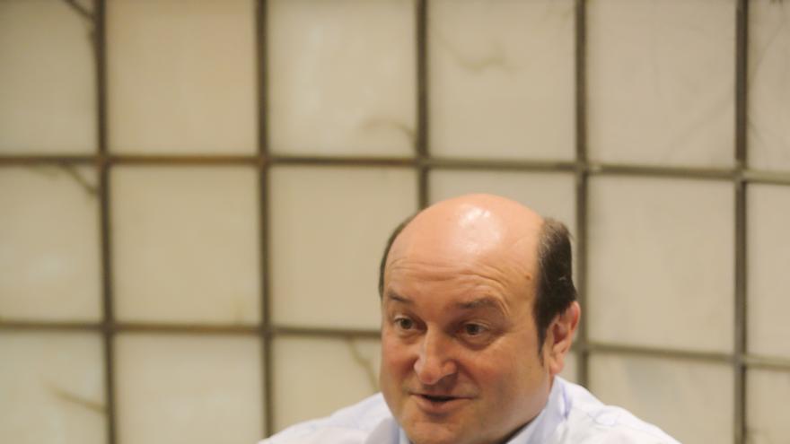 El líder del PNV, Andoni Ortuzar, durante la entrevista en Sabin Etxea,