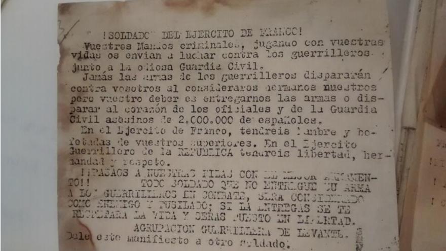 """Folleto propagandístico del AGLA. Imagen contenida en la tesis doctoral """"Entre la resistencia y la supervivencia"""" de Raül González Devís."""