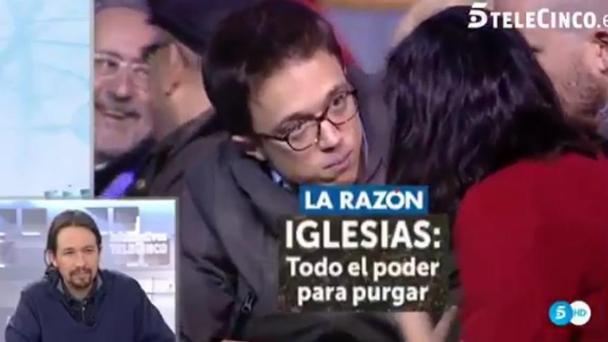 Piqueras pone los titulares de prensa a Pablo Iglesias,  que disiente con la cabeza