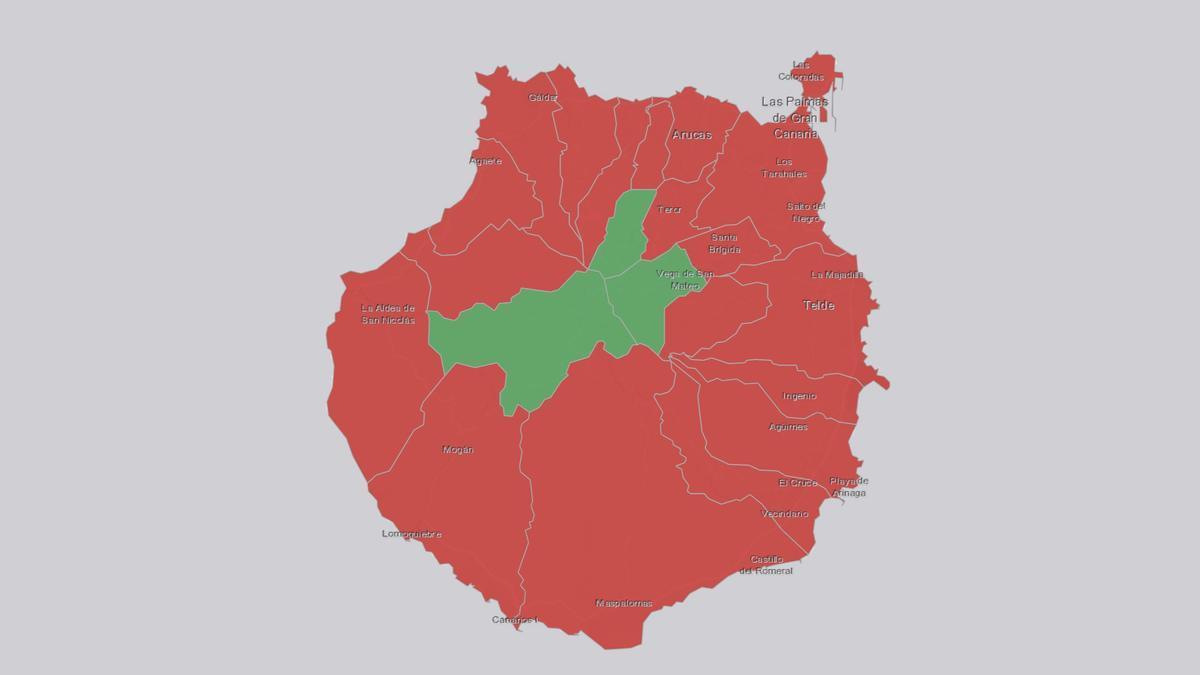 Número de positivos en Gran Canaria para este martes, 13 de julio (rojo, municipios con al menos un contagio en las últimas 24 horas; verde, municipios sin contagios)