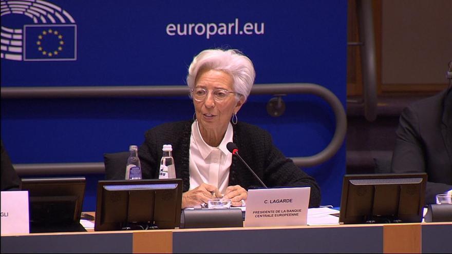 La presidenta del Banco Central Europeo (BCE), Christine Lagarde, este jueves en el Parlamento Europeo.
