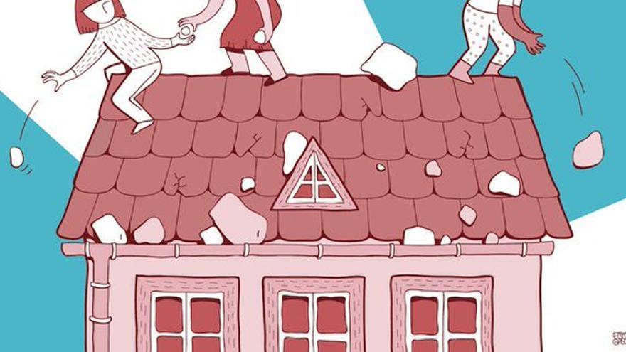 Ilustración de Emma Gascó para un artículo de Barbijaputa en Pikara sobre las críticas entre feministas
