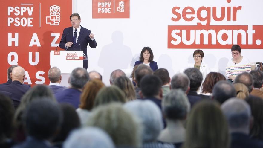 Ximo Puig durante la presentación del programa electoral del PSPV
