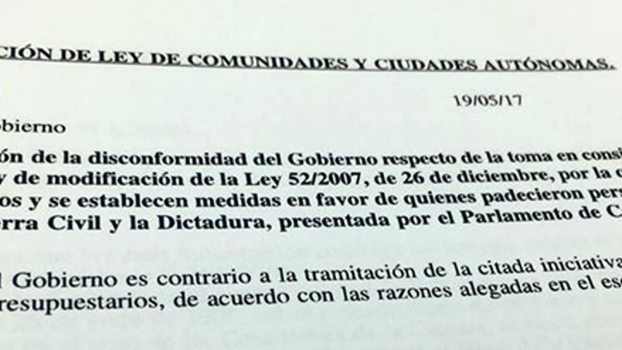 Respuesta del Gobierno a la proposición de ley del Parlament de Cataluña.