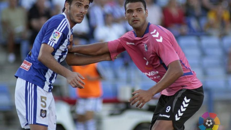 Zamora y Aridane, en el partido de ida entre el Recreativo de Huelva y el Tenerife.