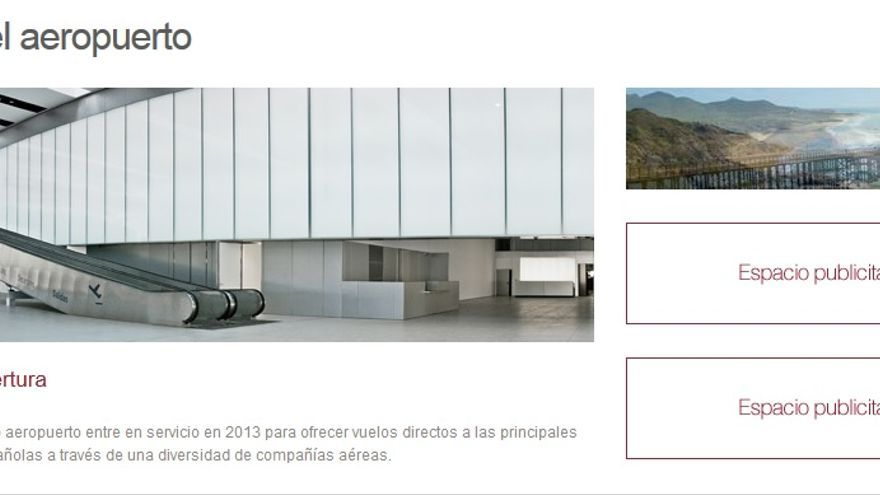 La web del aeropuerto de Murcia sigue anunciando su apertura en 2013