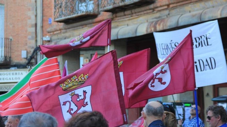 Varios manifestantes leonesistas, en una imagen de archivo.