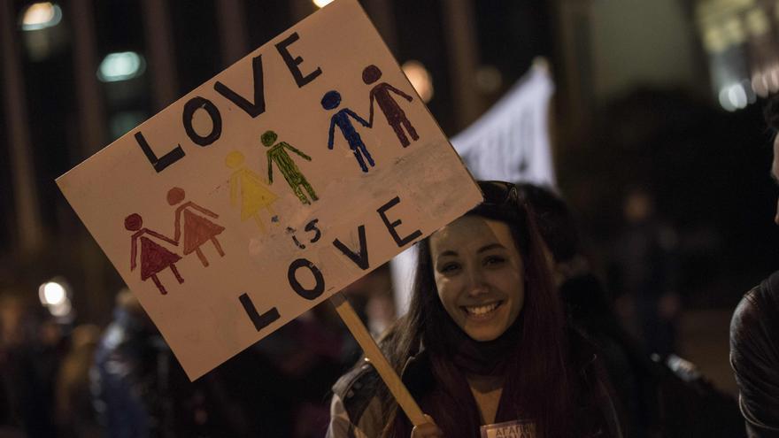 Manifestación en favor de la diversidad sexual.