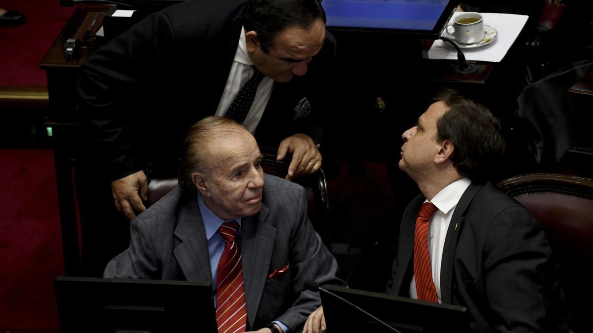 Carlos Menem, durante una sesión en el Senado