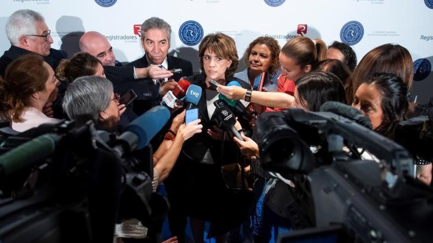 La ministra de Justicia en funciones, DoloresDelgado, este jueves en Sevilla.