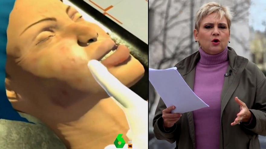 Recreación del cuerpo sin vida de Cristina Ortiz / Gloria Serra leyendo el testimonio inédito localizado por 'Equipo de investigación'