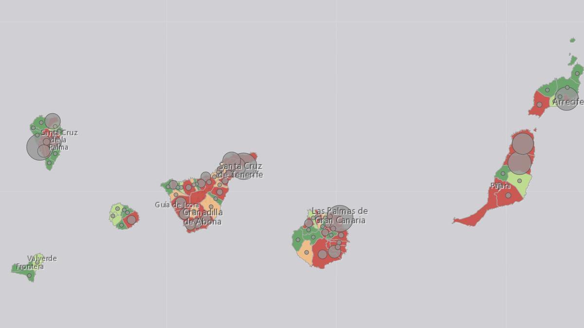 Mapa de la incidencia acumulada en el Archipiélago
