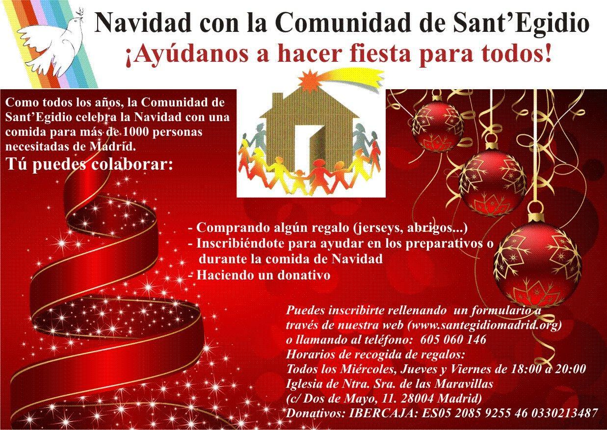 Folleto informativo sobre las acciones de Sant'Egidio en navidad