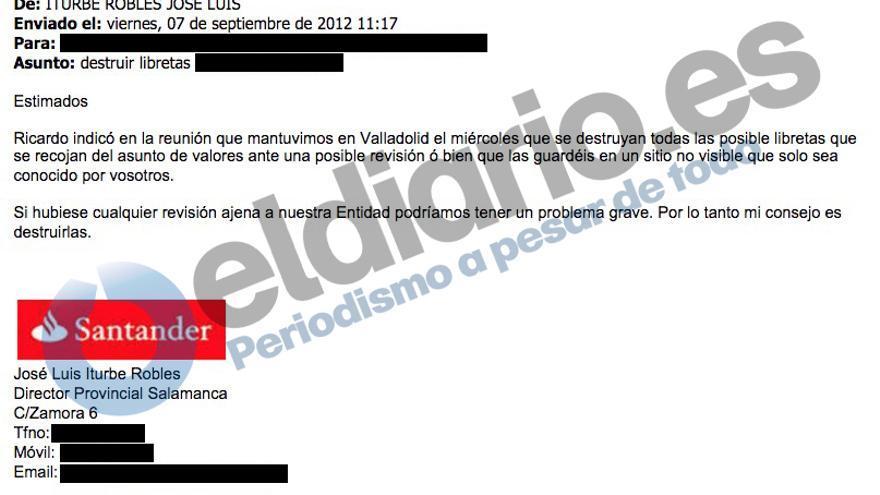 Captura del correo en el que se pide la destrucción de las libretas de ahorro