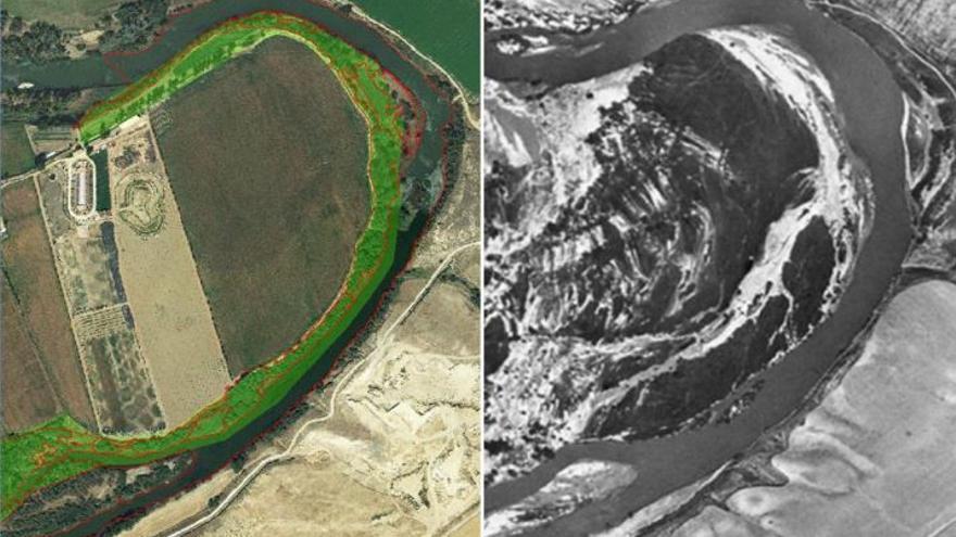 Evolución del río Tajo en La Herradura (Añover de Tajo). Izquierda: PNOA 2009. Derecha: vuelo americano (Serie A, 1956-1957). Superficie verde: Espacio Natura 2000