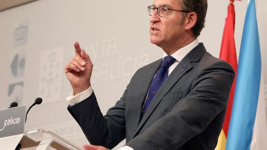 Feijóo, durante una rueda de prensa en la sede de la Xunta de Galicia