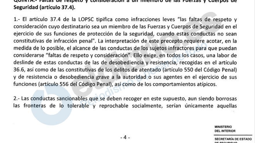 Instrucción de la Secretaría de Estado sobre la Ley de Seguridad Ciudadana