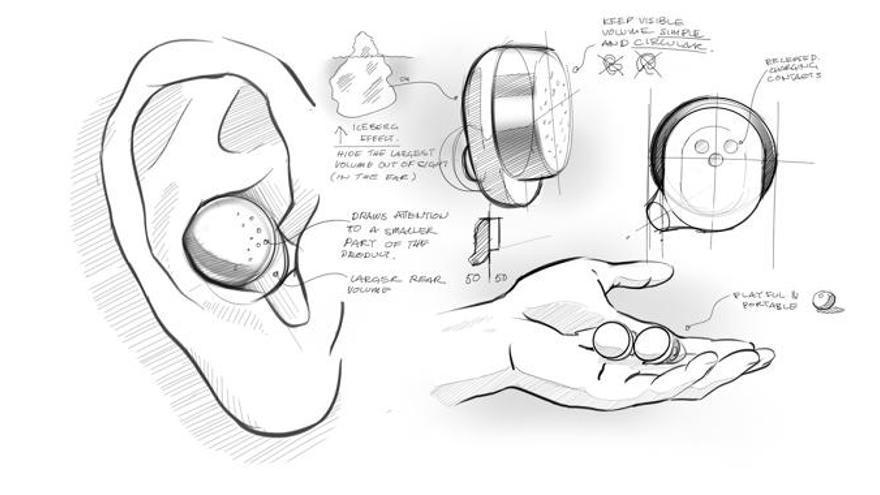 Algunos bocetos de los auriculares