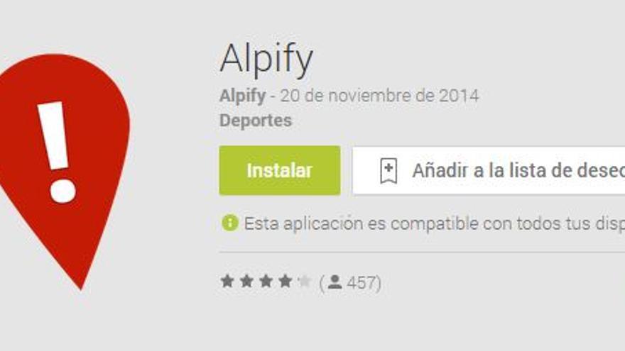 Página de Android desde donde puede bajarse Alpify al móvil