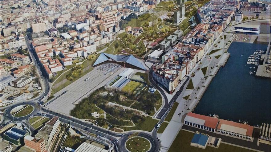Proyecto de reordenación ferroviaria y del frente marítimo en Castilla-Hermida que el PRC propuso en 2003.