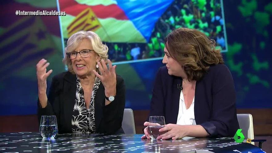 Manuela Carmena y Ada Colau en el Intermedio de La Sexta