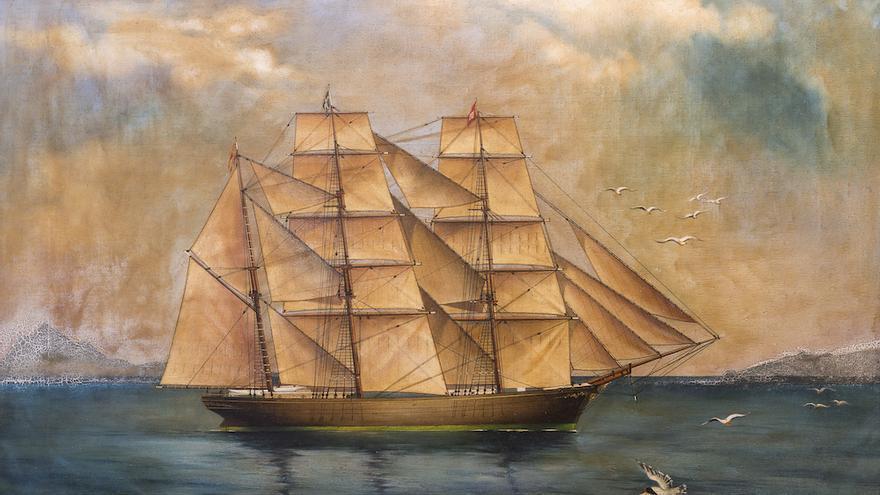 Óleo del velero La Verdad que se exhibe en la casa Yanes.