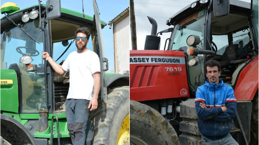 Iosu Estenaga y Miguel Unzue son de los pocos navarros menores de 40 años que se dedican al sector agrícola