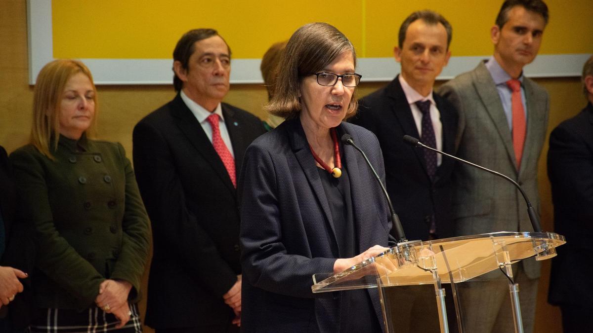 La rectora de la UIMP, María Luz Morán, durante el acto de toma de posesión.