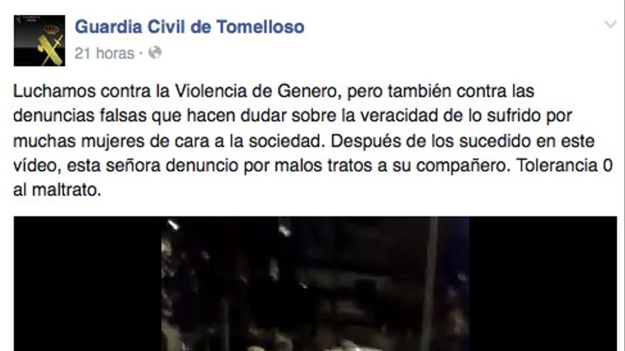 Entrada en Facebook de la Guardia Civil de Tomelloso