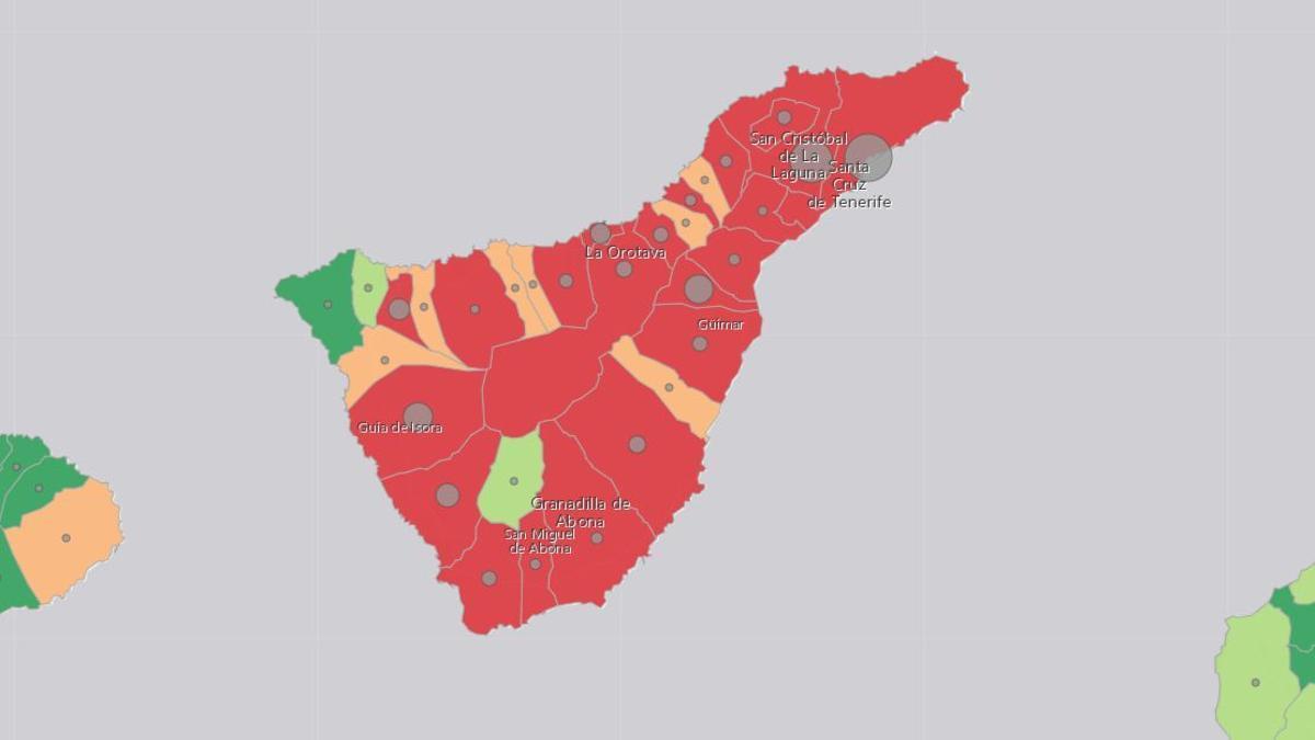 Mapa de la incidencia de la COVID-19 en Tenerife este martes, 4 de mayo