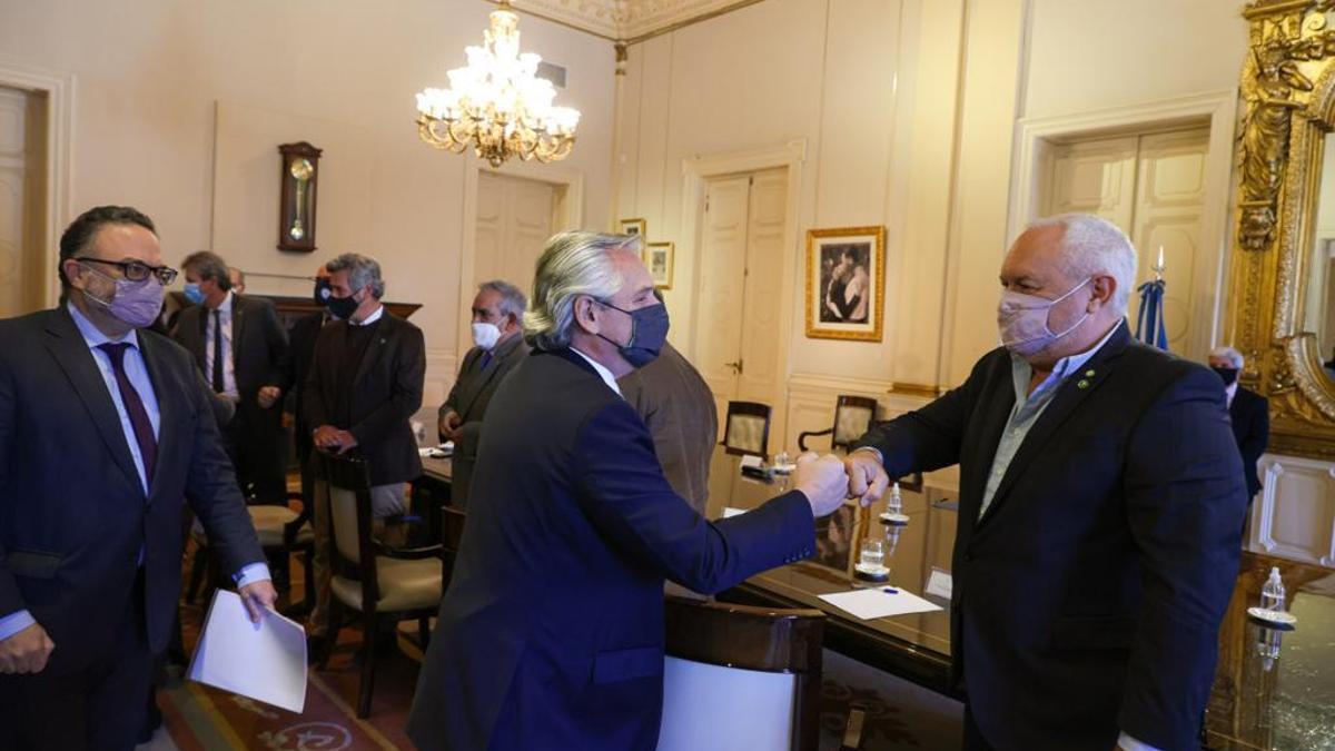 Kulfas, Alberto Fernández y los integrantes del Consejo Agroindustrial Argentino, hoy en Casa de Gobierno.