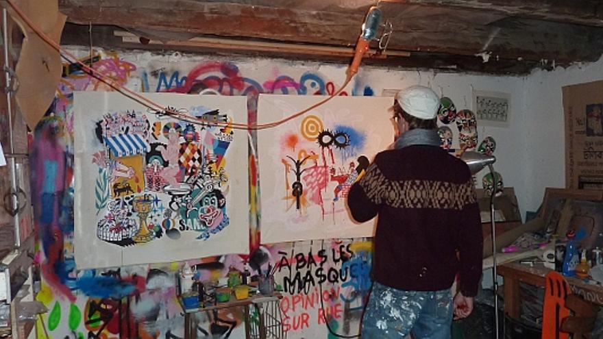 3ttMan, en su estudio de la calle Noviciado   Foto A.P.