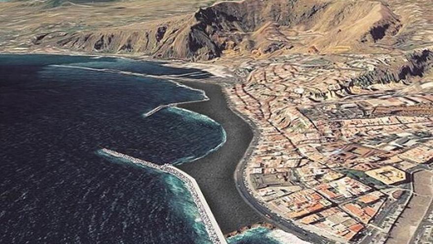 Recreación. En la imagen se aprecia como quedará la playa artificial que actualmente se construye.