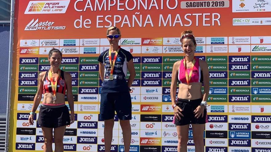 Marisa Pérez, en el podio de Valencia