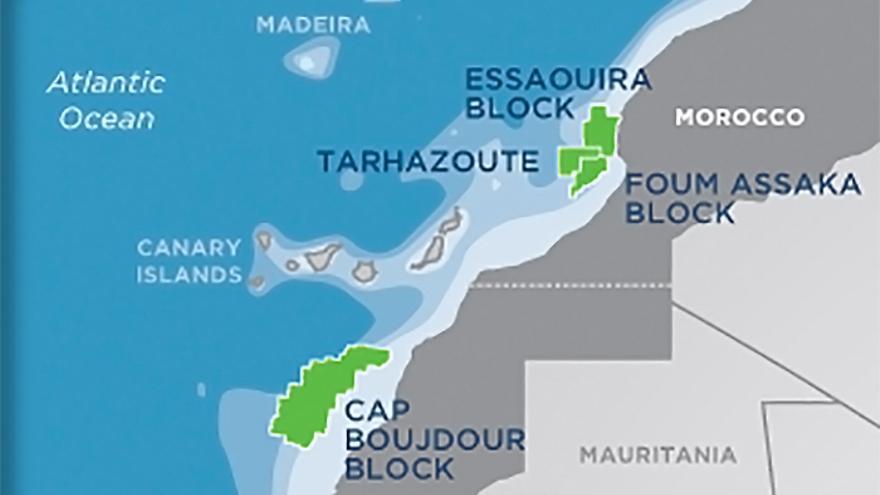 Infografía del proyecto de perforaciones de la compañía Kosmos Energy en aguas de Marruecos y del Sahara Occidental.