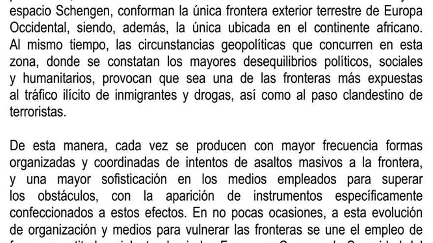 Extracto de una nota de prensa del ministerio del Interior que alerta de la violencia empleada por los inmigrantes