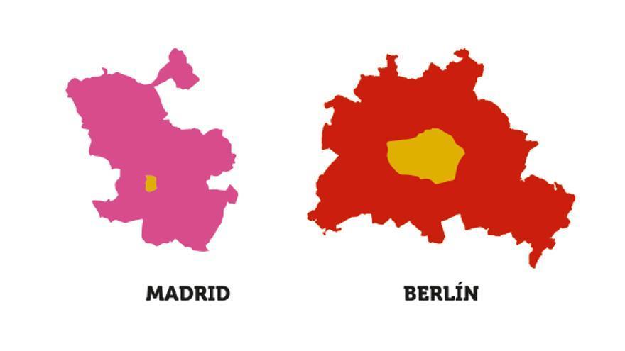 Este es el tamaño de Madrid Central comparado con otras zonas europeas de restricción al tráfico