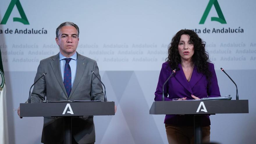 Elías Bendodo y Rocío Ruiz, este lunes en rueda de prensa