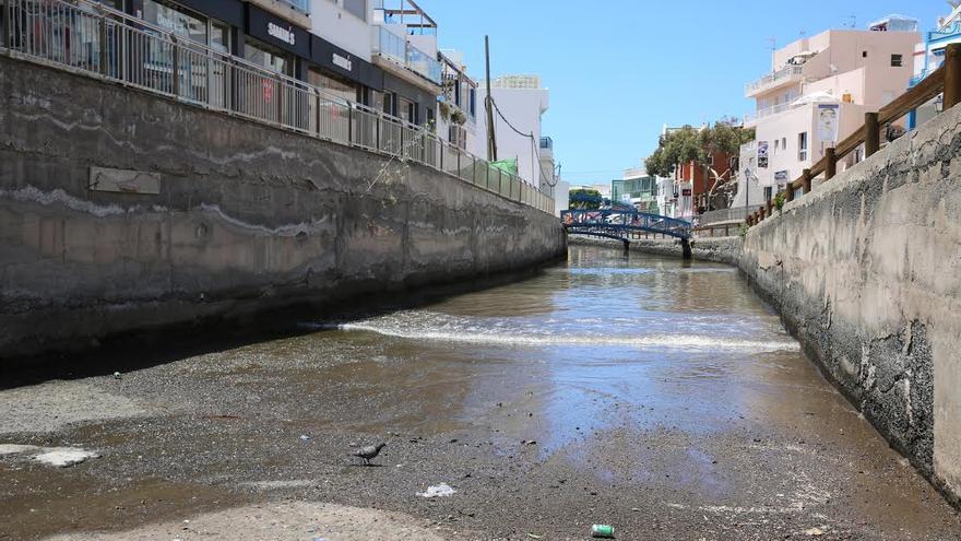 Vertido de aguas residuales en Mogán. (ALEJANDRO RAMOS)