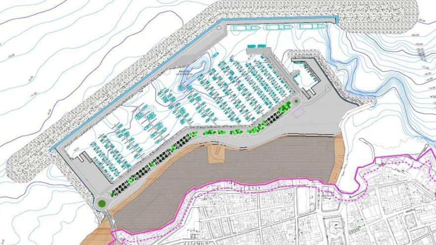 Plano del nuevo puerto para la ciudad turística del norte de Tenerife, con la parte terrestre en tono más oscuro