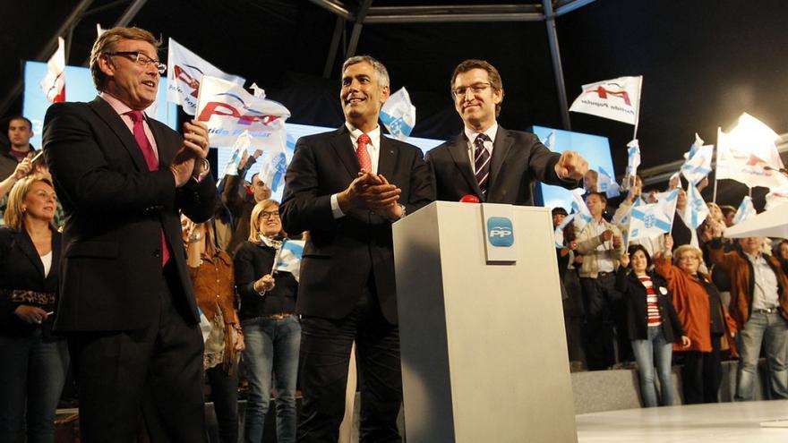 Barreiro (izquierda), Castiñeira y Feijóo, en un acto electoral del PP en Lugo